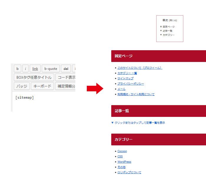 「Cocoon」HTMLサイトマップのショートコード