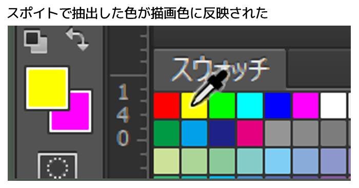 Photoshopでスポイトやスウォッチで選択した色が描画色ではなく背景色に反映される
